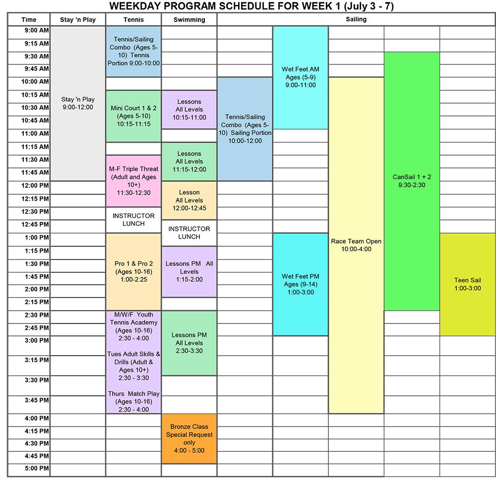 2017 Program Schedule Week 1