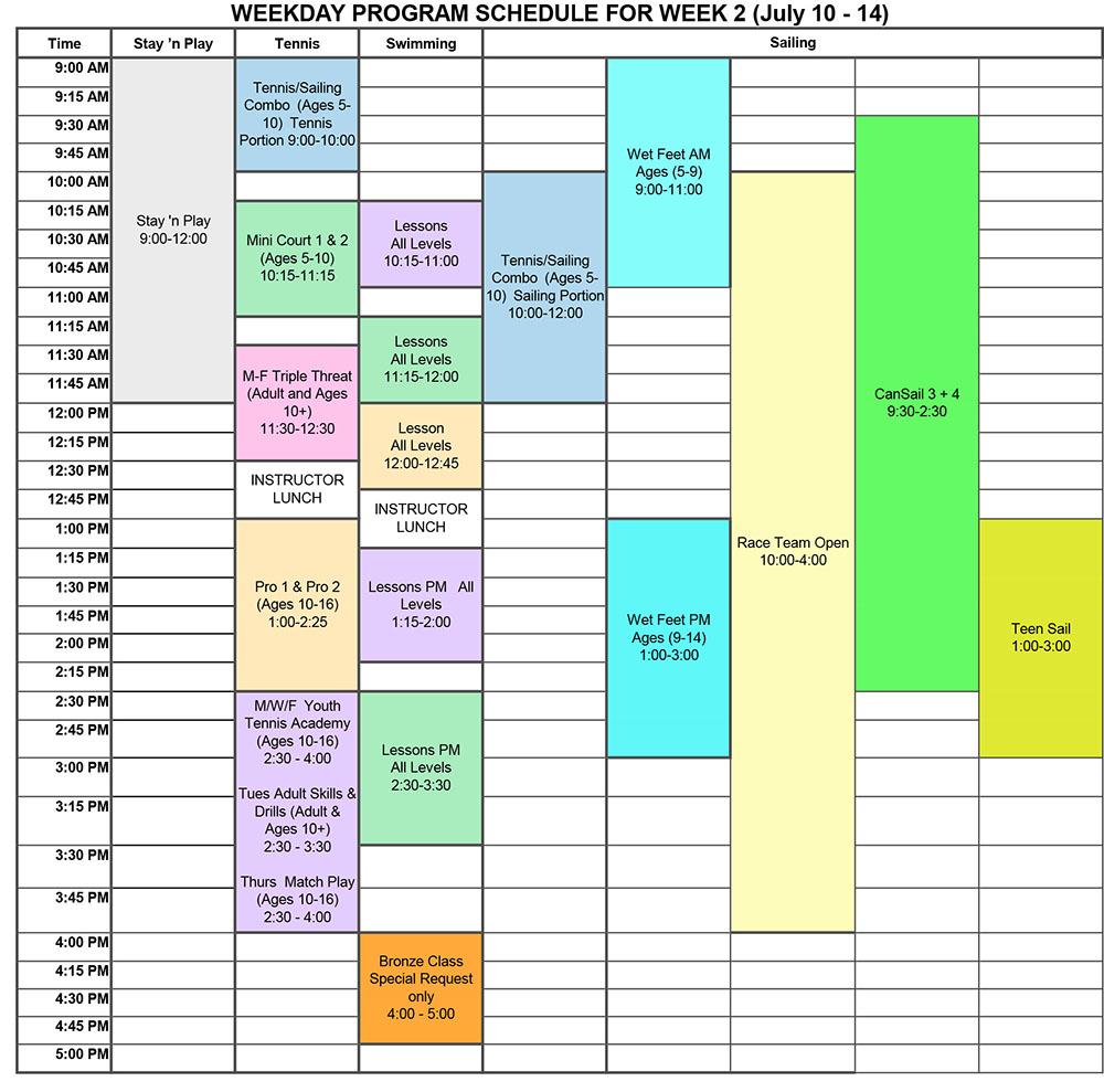 2017 Program Schedule Week 2
