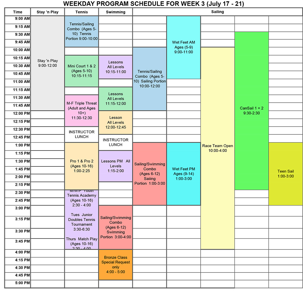 2017 Program Schedule Week 3