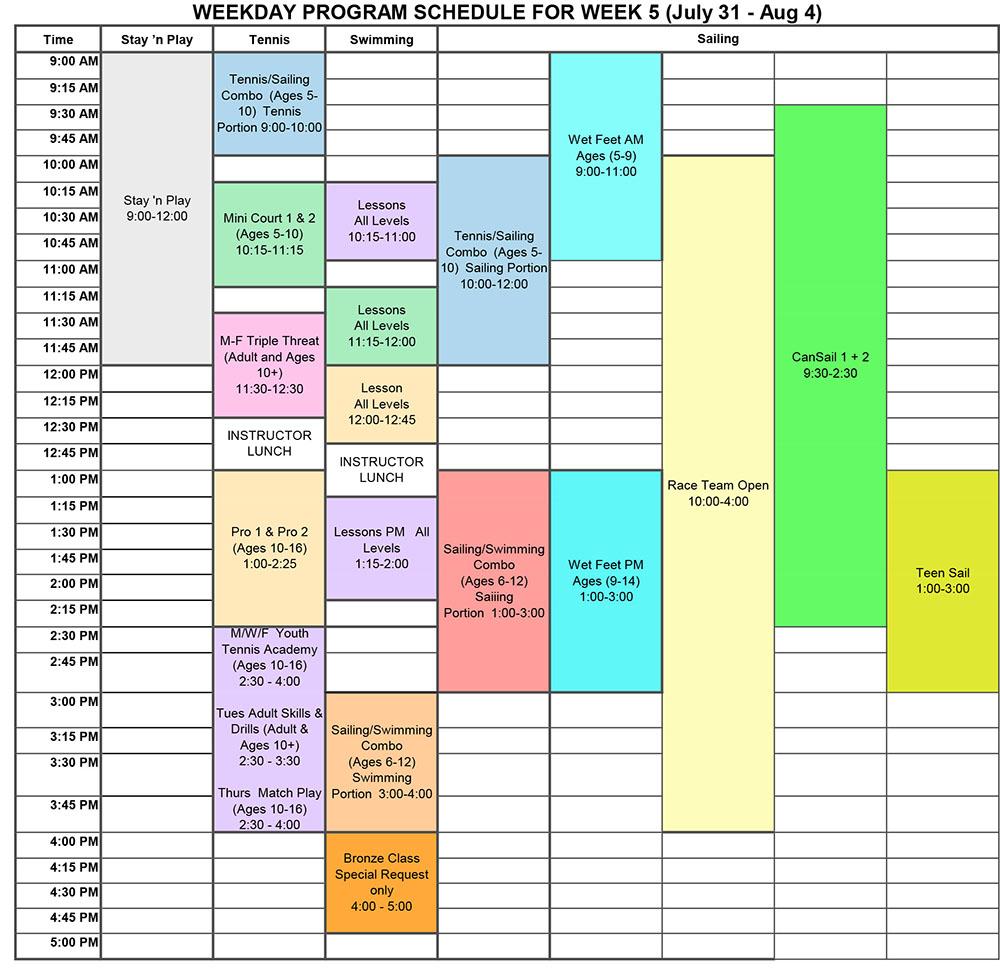 2017 Program Schedule Week 5